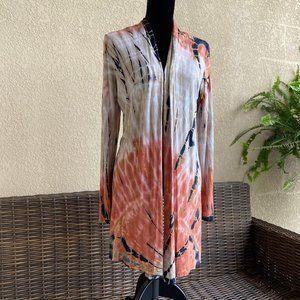 Indigo Thread Co Tie Dye Open Front Cardigan NEW L
